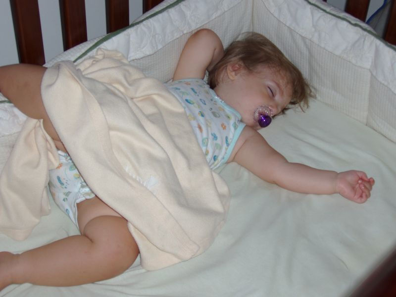 Shaylagh in crib