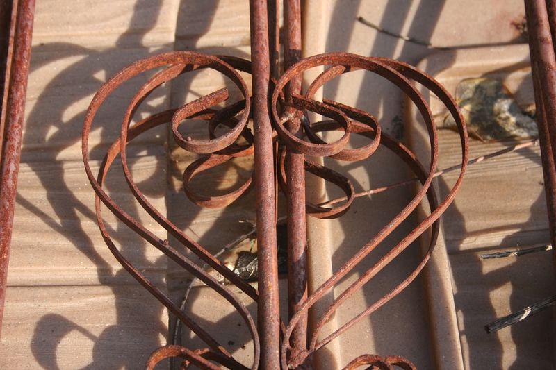 Heart shape iron fence