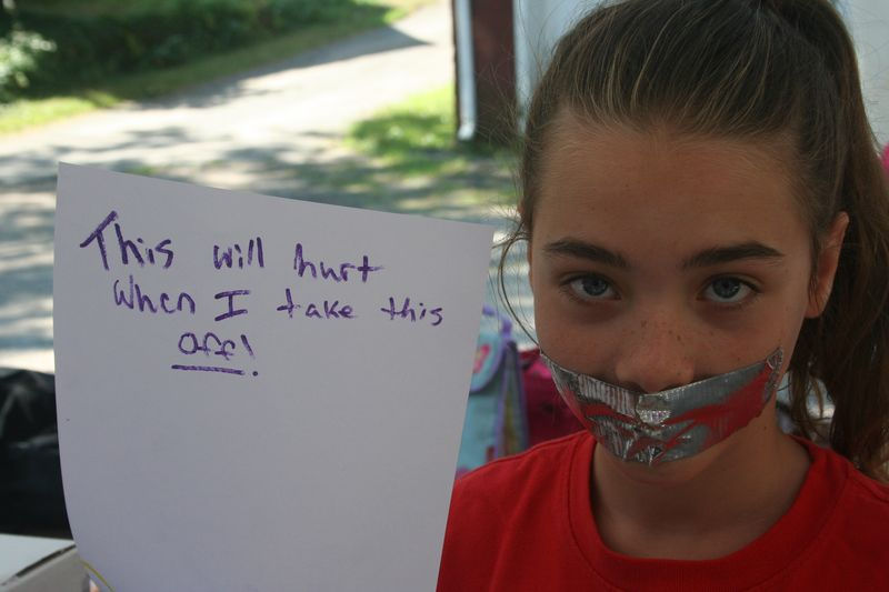 Duck tape over mouth
