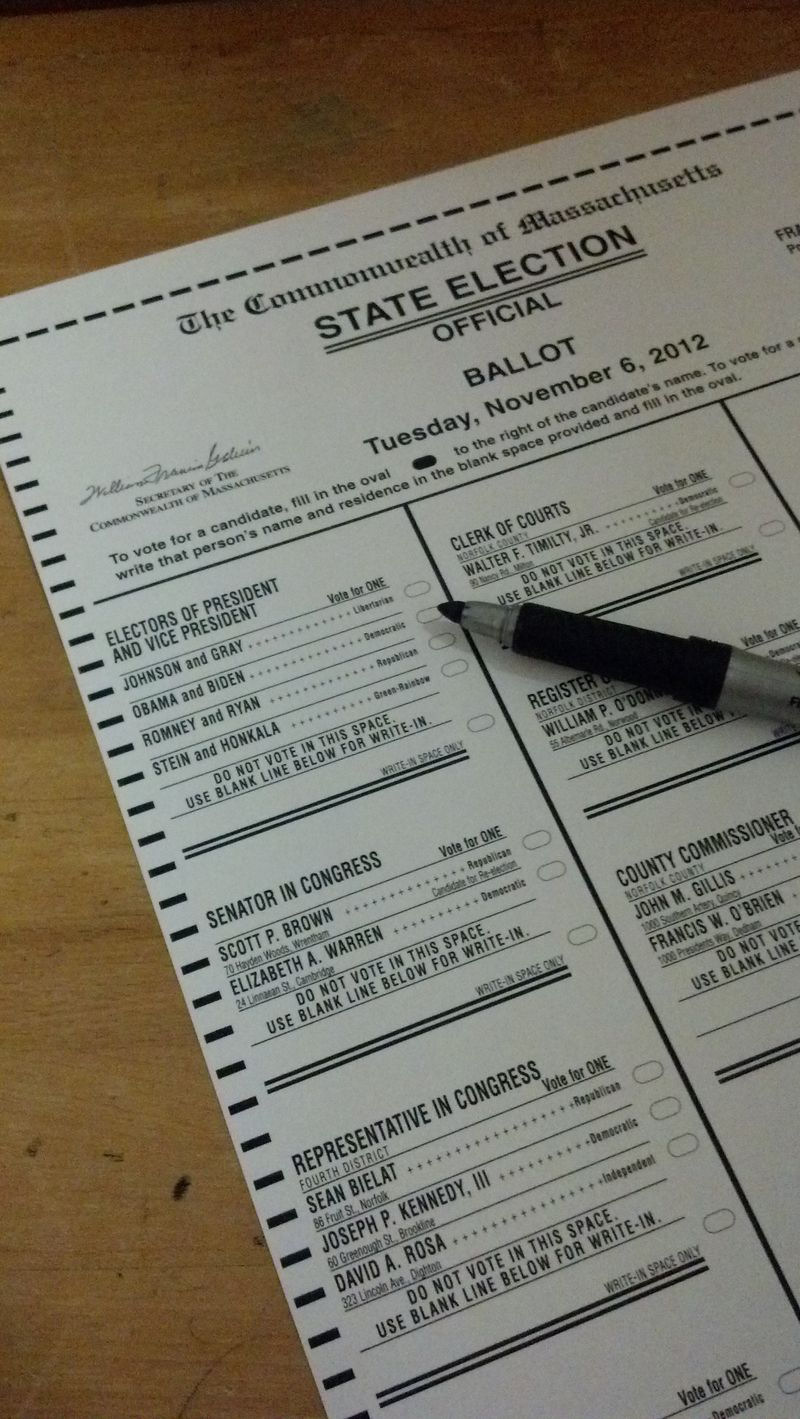 Massachusetts election ballot