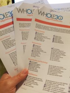 Whole 30 NSV checklist